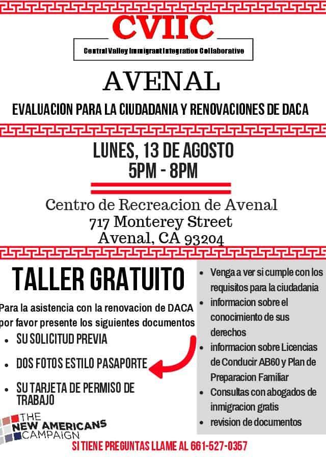 Taller de Renovación de DACA y Ciudadanía en Avenal el Lunes, 13 de Agosto 2018