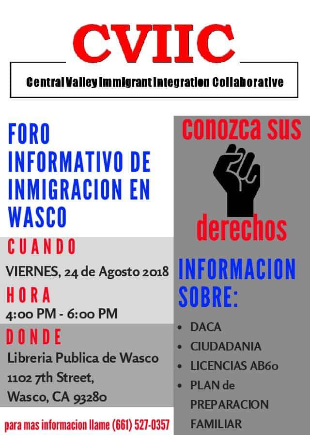 Foro Informativo de Inmigración en Wasco 24 de Agosto 2018