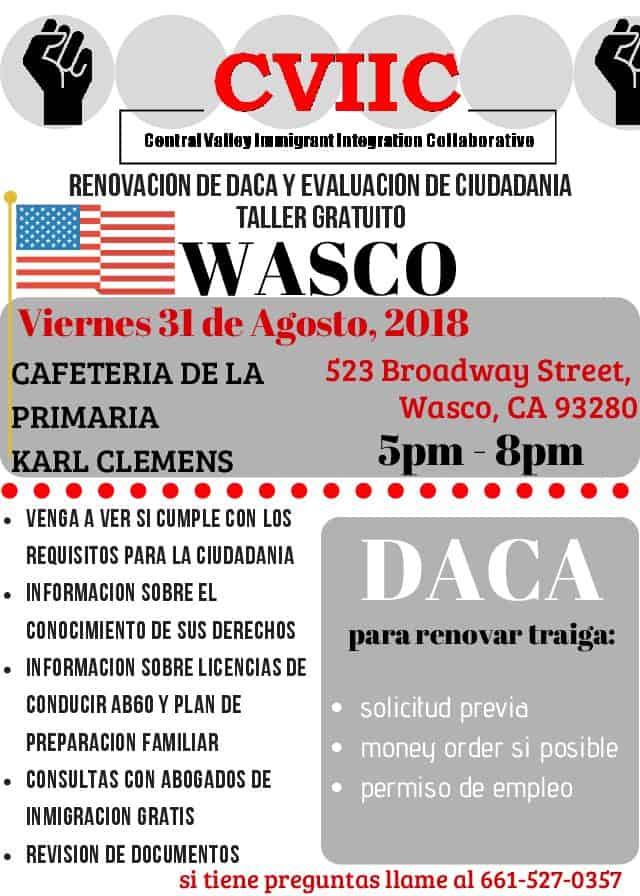 Taller de Renovación de DACA y Ciudadania en Wasco el 31 de Agosto 2018