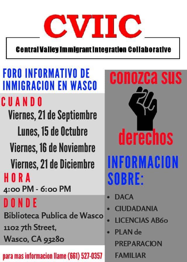 Foro Informativo de Inmigración en Wasco 21 de Septiembre
